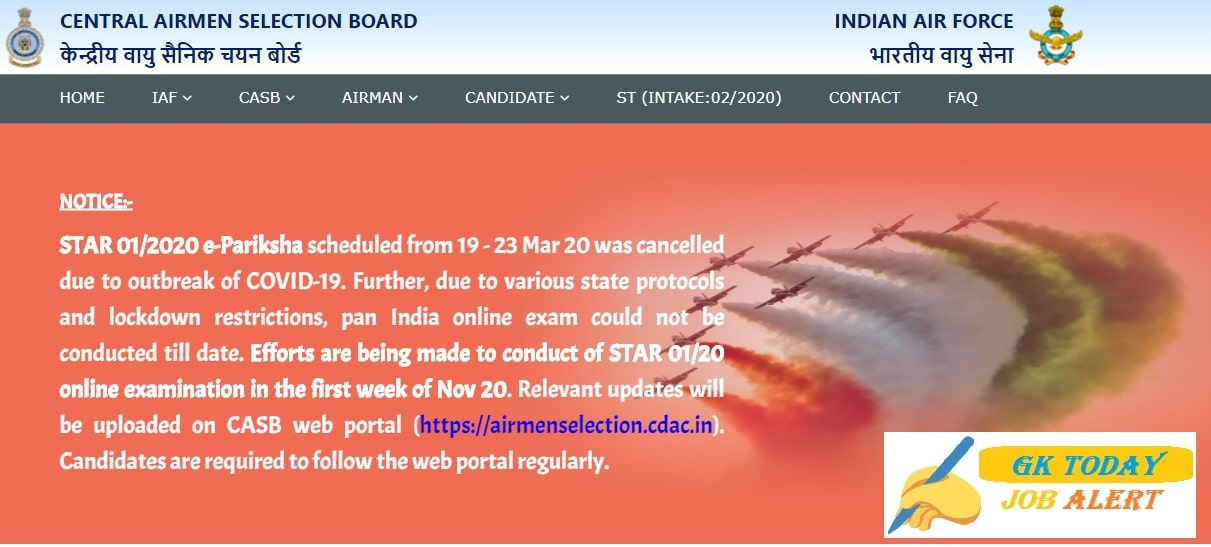 Indian Air Force Airmen (Group X & Y) Exam Date notice