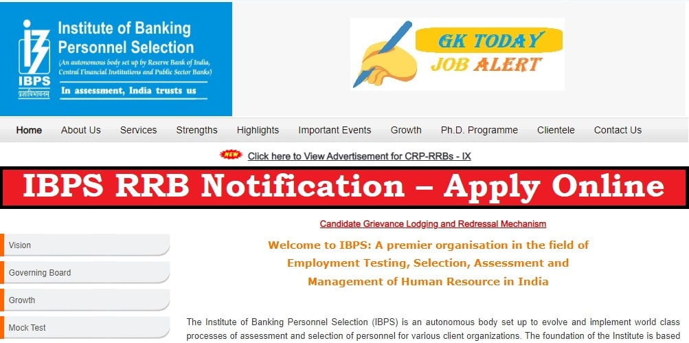 IBPS RRB Notification 2020 – Apply Online