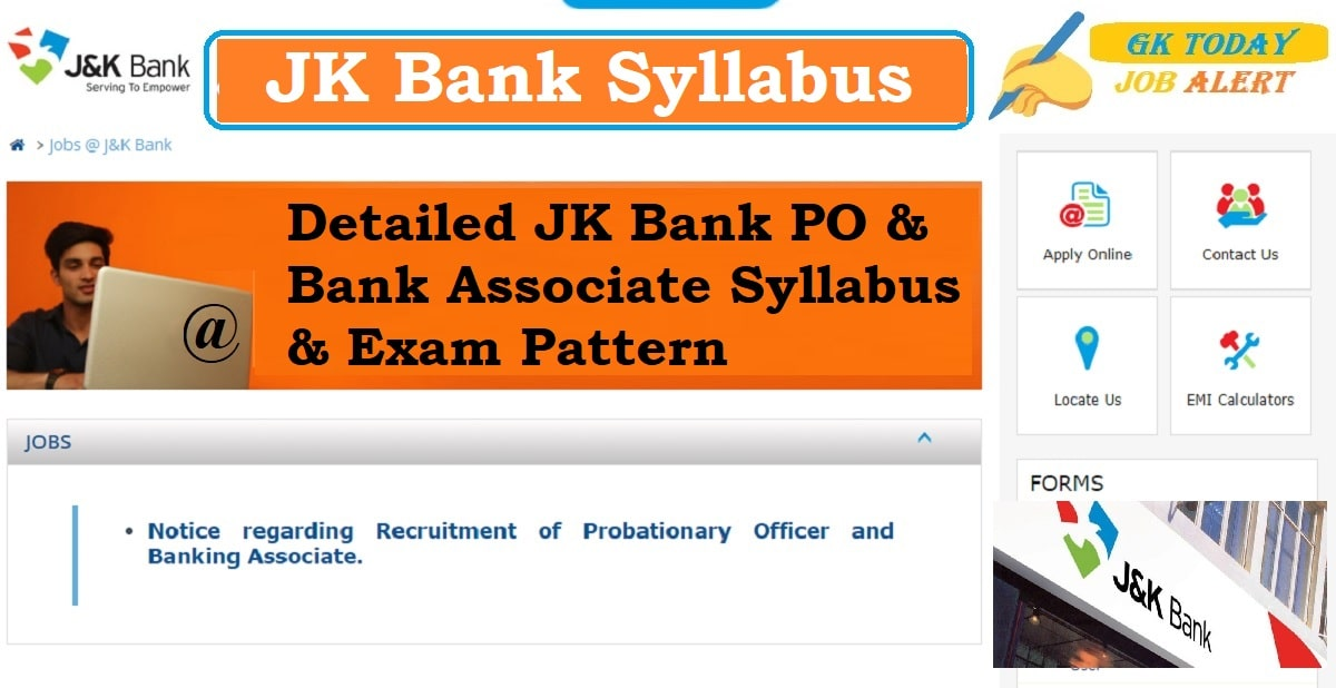 JK Bank Syllabus 2020: Detailed PO & Banking Associate Syllabus & Pattern