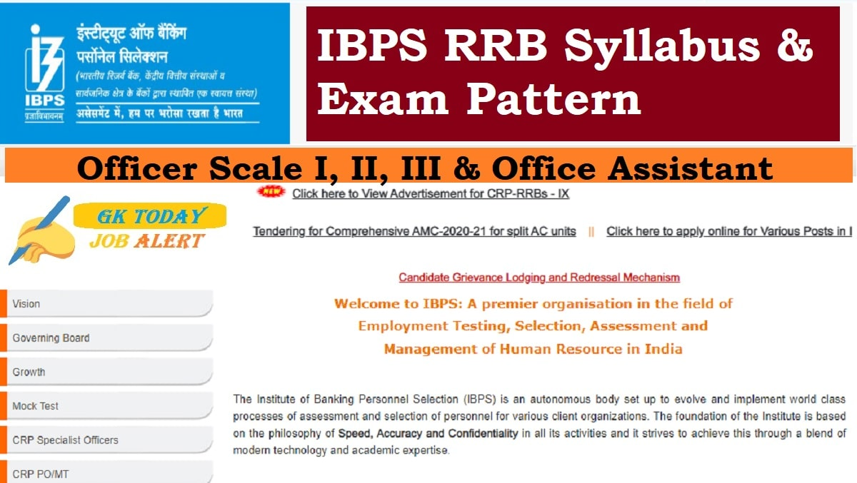 IBPS RRB Syllabus & Exam Pattern 2020 : Officer Scale I, II, III & Office Assistant