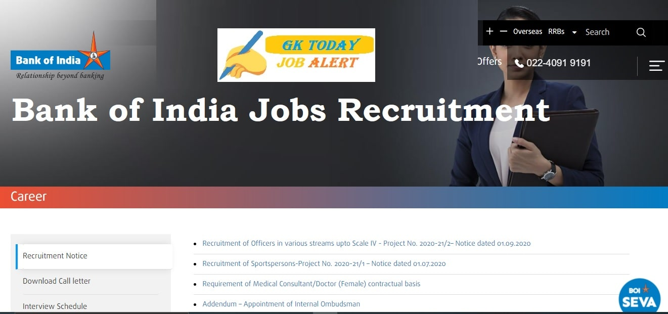 Bank of India Jobs Recruitment 2020 Apply Online 214 Officer Vacancies