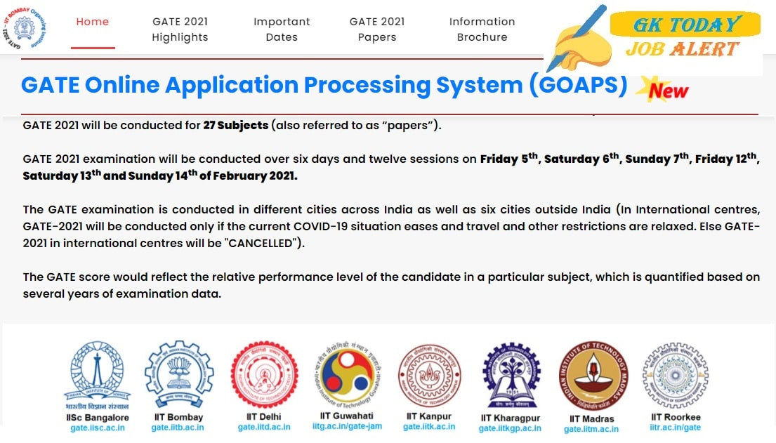 GATE 2021 Notification out – Apply Online
