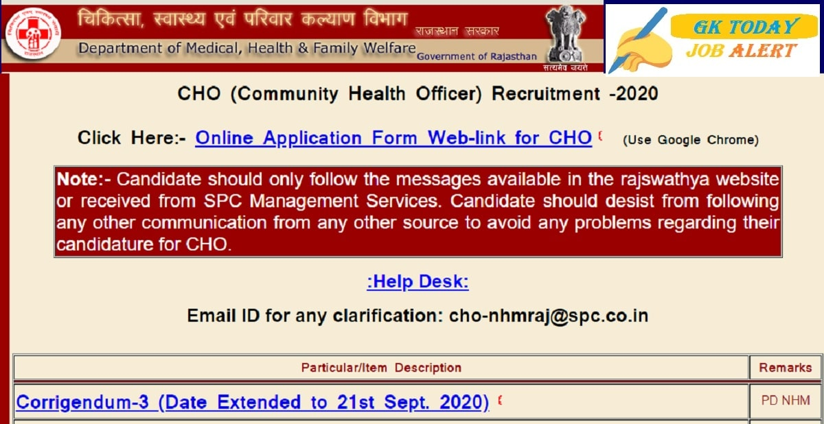NHM Rajasthan CHO Recruitment 2020: Apply Online Date Extended For 6310 CHO Vacancies