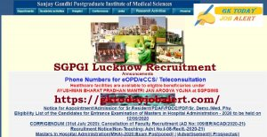 SGPGI Lucknow Recruitment 2020 – Apply Online for 825 Sister, Medical Lab Technologist & Other Posts Download Notice @sgpgi.ac.in