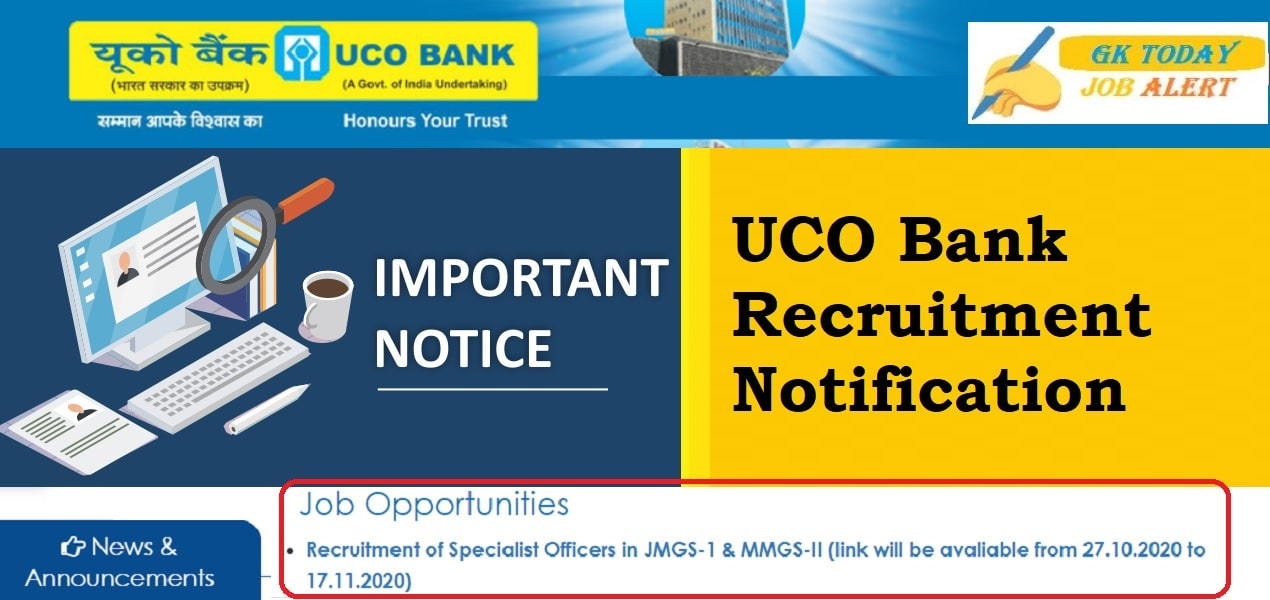 UCO Bank Recruitment 2020 – Specialist Officer Online Form