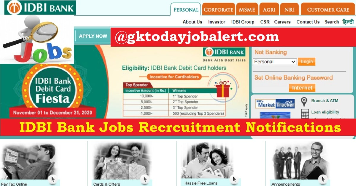IDBI Bank Jobs 2021 | Specialist Cadres Officers Posts