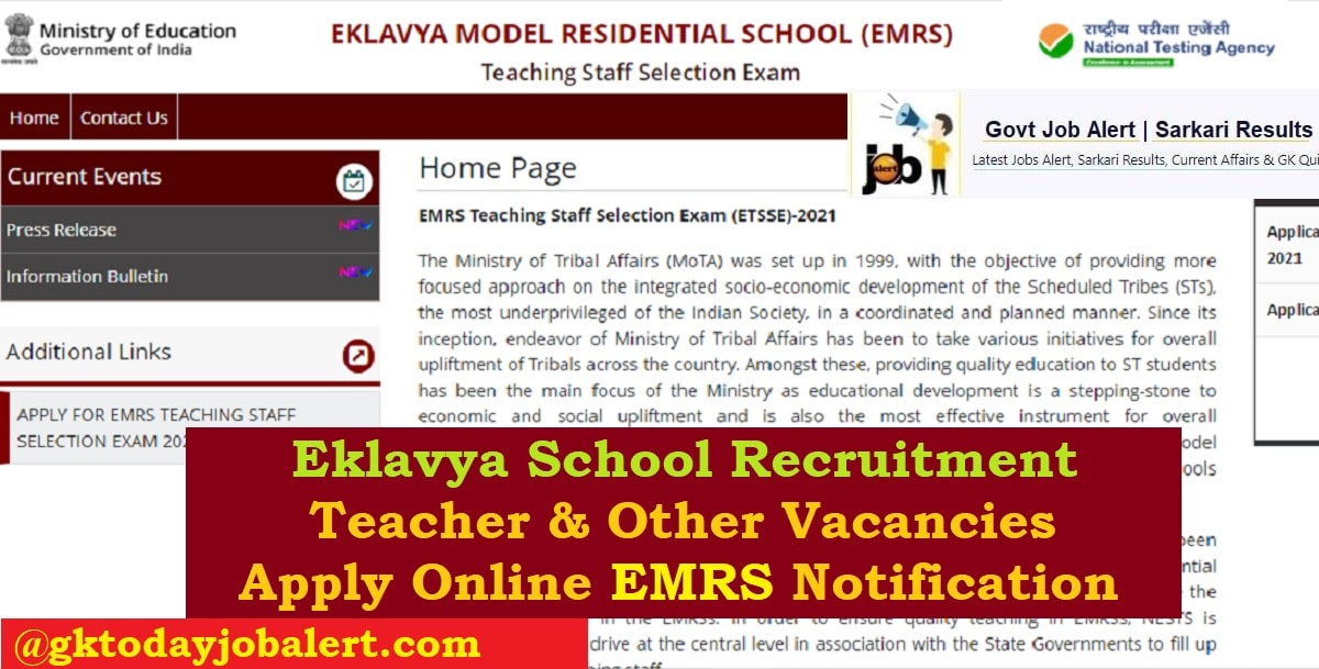 Eklavya School Recruitment EMRS Notification